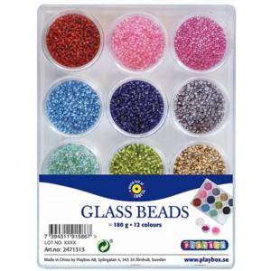 Skleněné korálky 12 barev, 180 g
