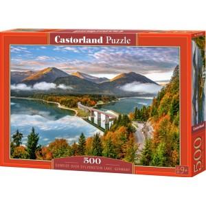 Puzzle Castorland 500 dílků- Východ nad Sylvenstein jezerem, Německo