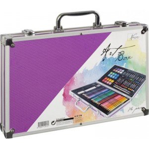 Sada na malování v kufříku - 79 ks fialová