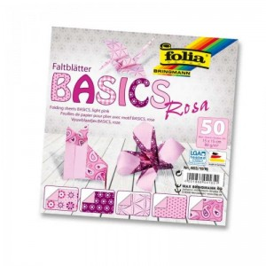 Papíry na skládání Origami, 50 listů, 15x15 cm, 80g – růžové