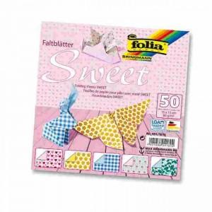 Papíry na skládání Origami, 50 listů, 15x15 cm, 80g – sweet