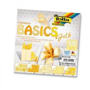 Papíry na skládání Origami, 50 listů, 15x15 cm, 80g – žluté