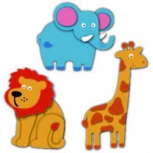 Pěnová žirafa, slon, lev