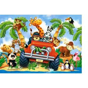 Puzzle 60 dílků-Jízda na safari
