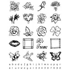 Razítka gelová - Gelová razítka - Kytky + mini abeceda s čísly