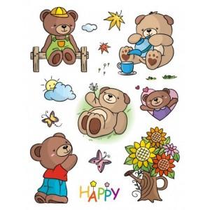 Razítka gelová - Gelová razítka - Medvídci s kyticí a motýlky
