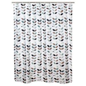 Sprchový závěs, polyester, 180 x 180 cm, motiv listy