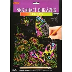 Škrabací obrázek duhový - Motýli