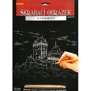 Škrabací obrázek stříbrný 20x25 cm - Karlštejn