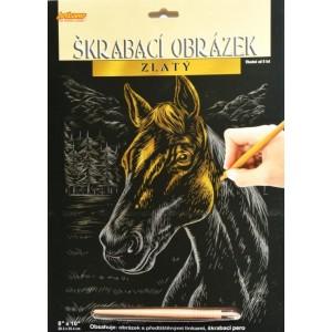 Škrabací obrázek zlatý - Kůň
