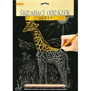 Škrabací obrázek zlatý - Žirafa