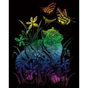 Škrabací obrázek- Duhový- Kočka