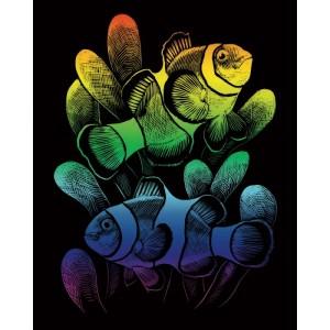 Škrabací obrázek- Duhový- Rybky