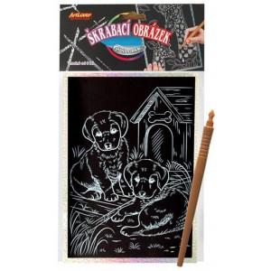 Škrabací obrázek- Holografický  20x15 cm- štěňata