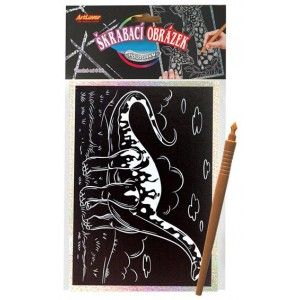 Škrabací obrázek- Holografický 20x15 cm- dinosaurus