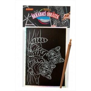 Škrabací obrázek- Holografický 20x15 cm- koťata