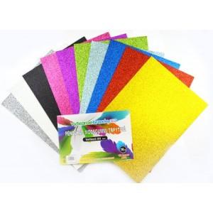 Třpytivá pěnovka - 10 ks, mix barev, A4 - cca 2 mm