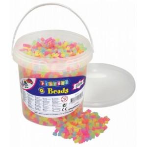 Zažehlovací korálky- 5000 ks korálků- kbelík, neonové-průhledné barvy