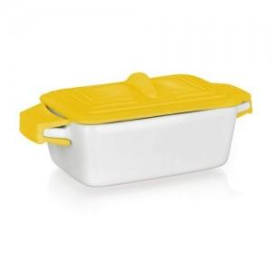 BANQUET Miska zapekací obdelníková COLOR PLUS Yellow 17 x 8,9 cm, se silikonovým víčkem
