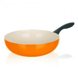 BANQUET Pánev WOK s keramickým povrchem NATURA CERAMIA Arancia 28 cm, oranžová