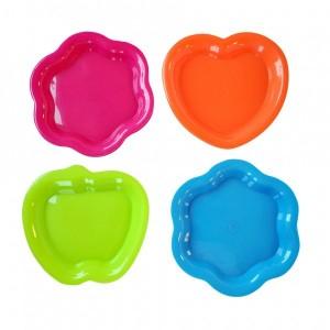 Talíř, 4 ks, tvar srdce, plast