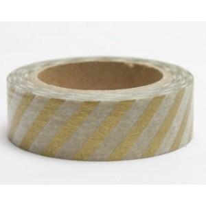 Dekorační lepicí páska - WASHI pásky-1ks pruhy zlatá