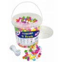 Korálky plastové s velkými dírkami v kbelíčku- 1200ks