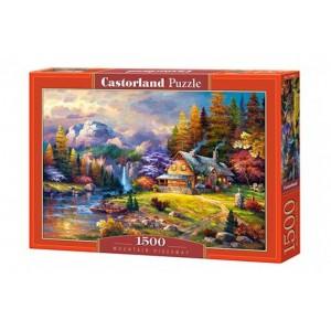 Puzzle 1500 dílků- Domeček s pozadím hor