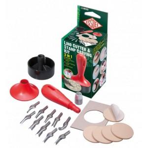 Sada pro linoryt 3v1-10 různých nožů a 5 samolepících lin.