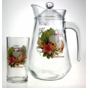 Nápojová sada 1+6pcs (1 džbán 1380ml +6 sklenic 250ml) design Kokos
